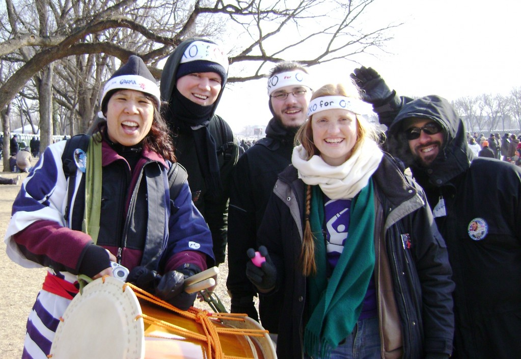 The Frosty Five. The freezing cold couldn't cool off our enthusiasm and energy, which we shared with the crowd.