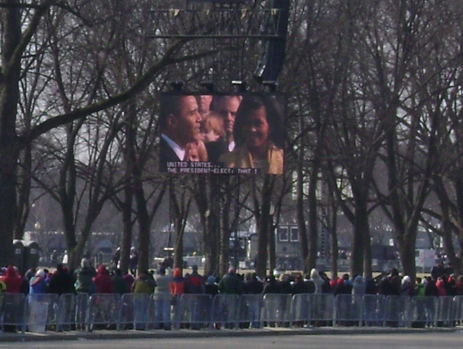 President Obama taking the Oath of Office - as seen by O.N.E. in D.C.