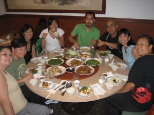 Dinner with new friends: Mary, Lisa, Stacey, Mari, Kaoru, George, & May