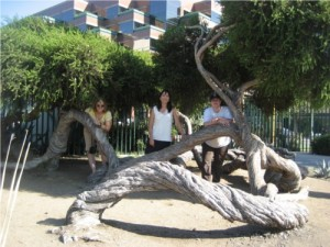 Beth, Tanya and me playing in the trees near the La Brea Tar Pits