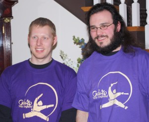 Shane and Greg sporting their new purple t-shirts.