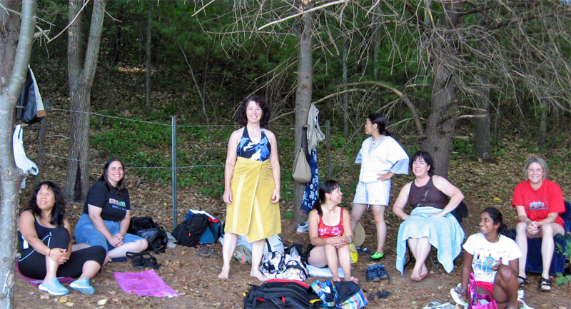 Wet Taiko Players in the Woods